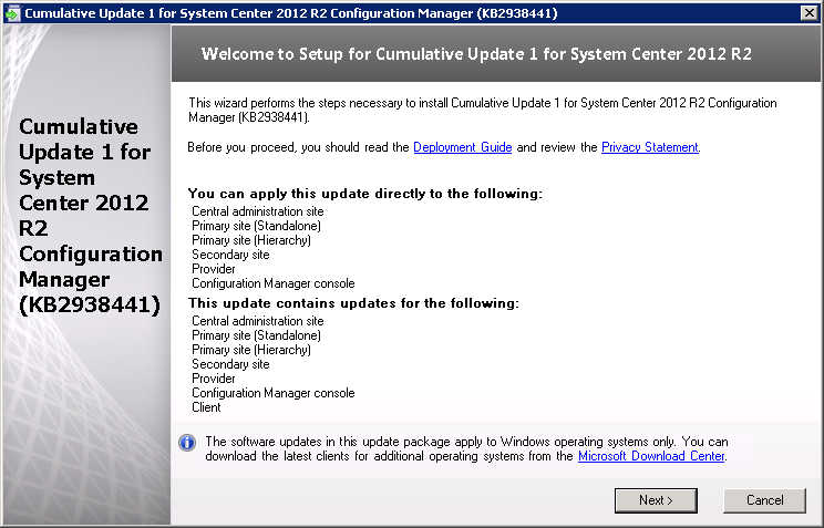 Applying the ADK 8 1 Update and CU1 for System Center 2012